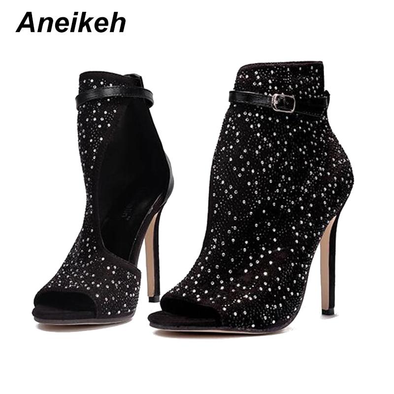 Aneikeh Crystal Women Pumps High Heels Brand Design Sexy Gladiator High Heels Women Rhinestone Buckle Strap Party Shoes 41 42 43