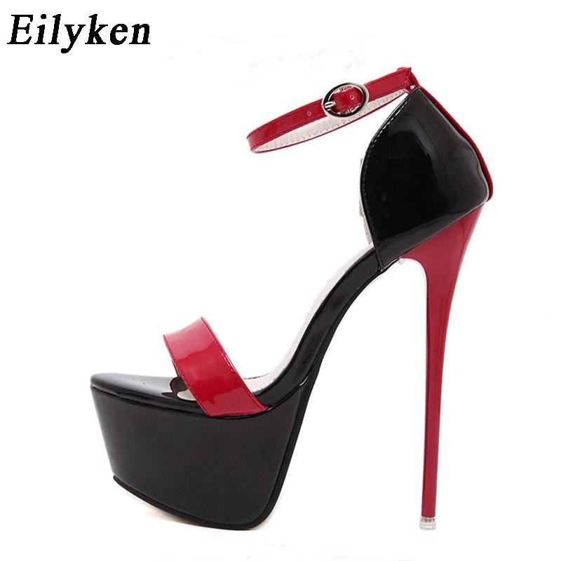 Eilyken Ladies Pumps Summer Women Sandals Sexy Pumps 16cm Women Heels Party Shoes Strappy Heels Red White Wedding shoes size 46