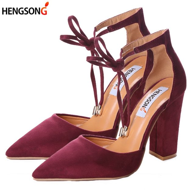 Women Pumps Sexy High Heels Shoes ladies Lace Up Point Toe Party Wedding Pump Black Woman shoes 35-43 chaussures femme