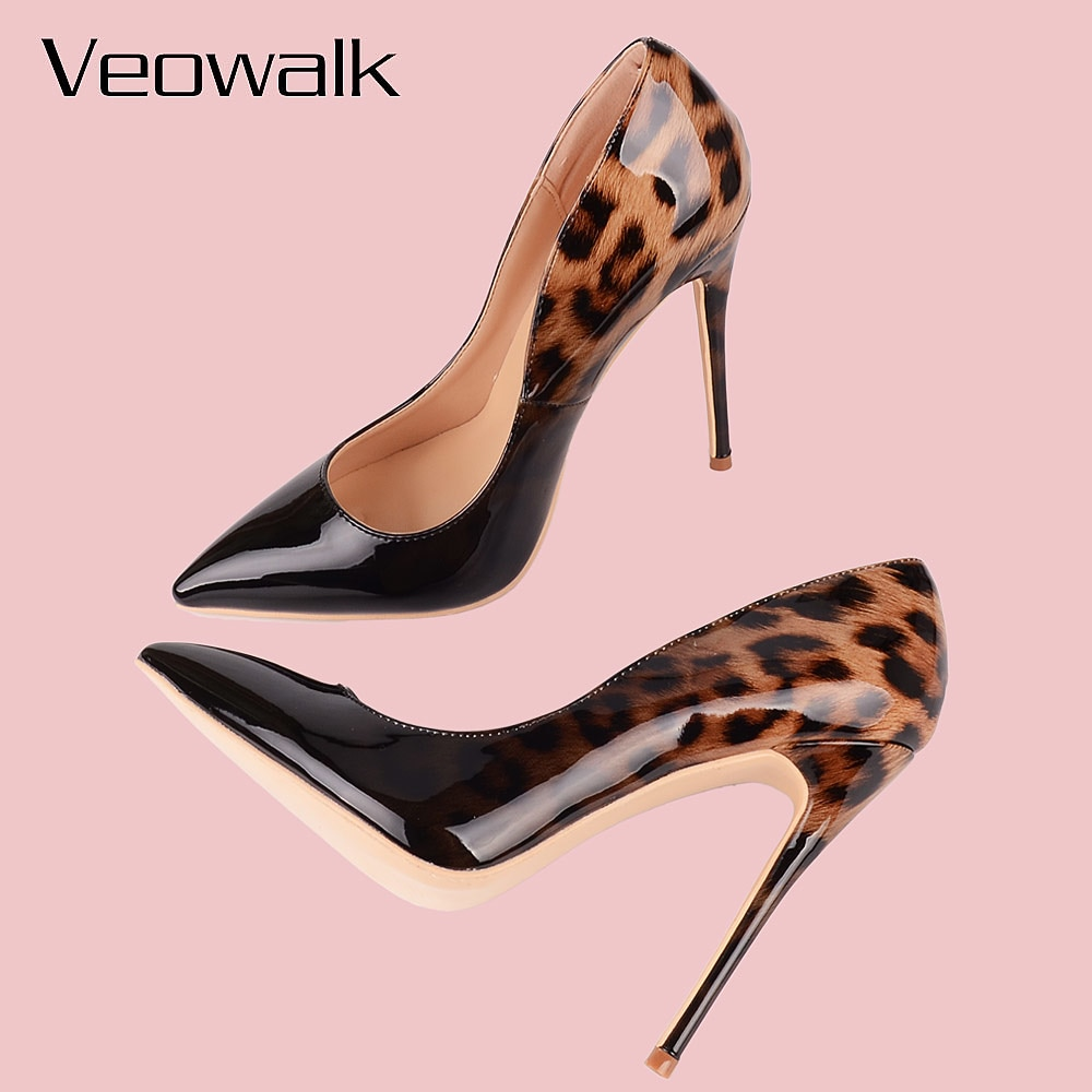 Veowalk Fashion Women Leopard Patent Leather Pumps Pointed Toe 8-12cm Stiletto Ultra High Heel Sexy Ladies Party Shoes Size34-43