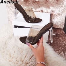 Aneikeh 2019 New PVC Jelly Sandals Crystal Open Toed Sexy Thin Heels Crystal Women Transparent Heel Sandals Slippers Pumps