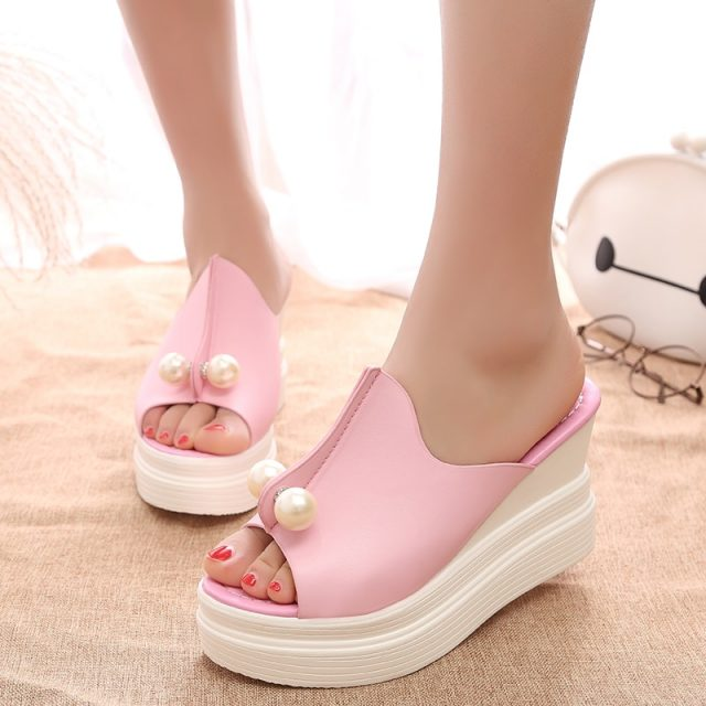 Sexy Women high Heels Platform Sandals Summer Slippers Peep Toe Thick Heel Slippers Slides Ladies Wedges Shoes Zapatos Mujer