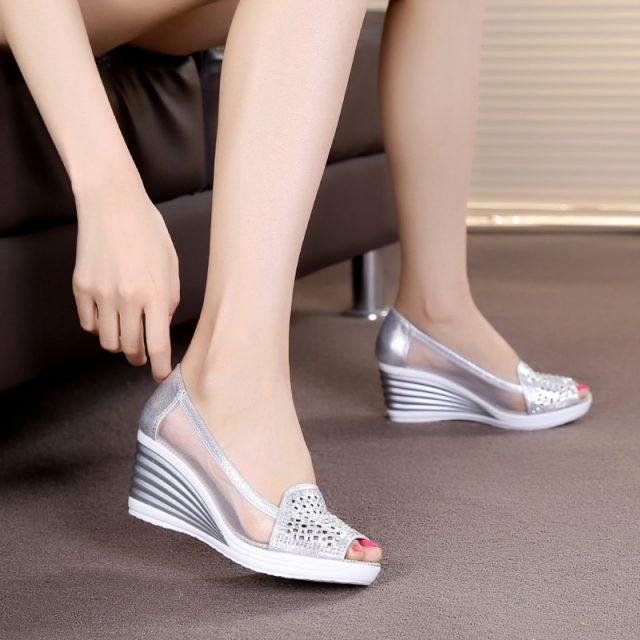 2018 Womens Wedges Shoes Peep Toe Heels Summer Mesh Shoes Lady aa0211