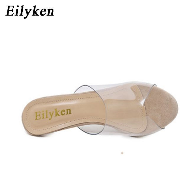 Eilyken 2019 New PVC Jelly Sandals Crystal Open Toed Sexy Thin Heels Crystal Women Transparent Heel Sandals Slippers Pumps