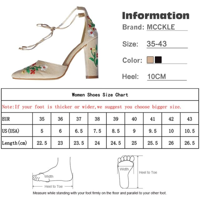 MCCKLE Women High Heels Plus Size Embroidery Pumps Flower Ankle Strap Shoes Female Two Piece Sexy Party Wedding Pointed Toe