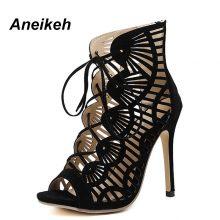 Aneikeh Summer Sandals Women Pumps Open-toed Women High Heels Shoes Fashion Serpentine Pattern Belt 11cm Thin Heels  Party Shoe