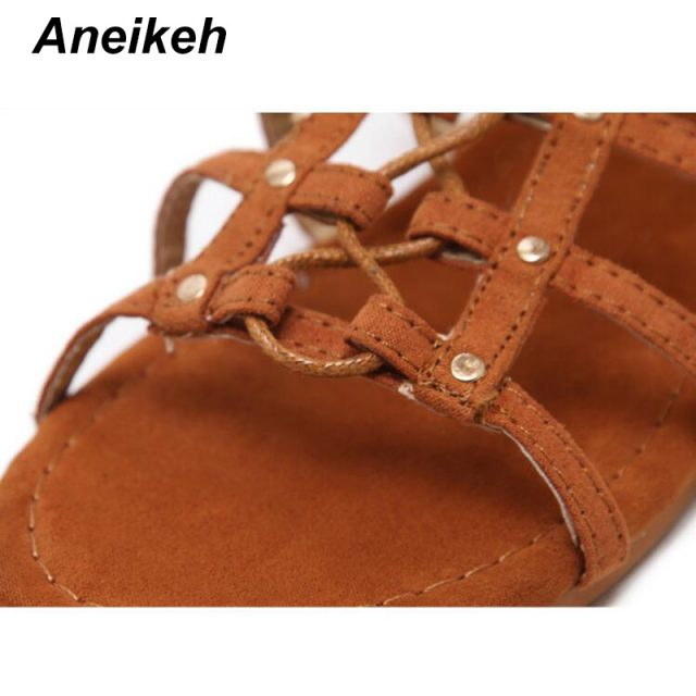 Aneikeh Women Sandals 2018 Sexy Gladiator Sandalias Women Cross-tied Flat Heel Lace Up Cut Outs Hollow Shoes Woman Large Size 41