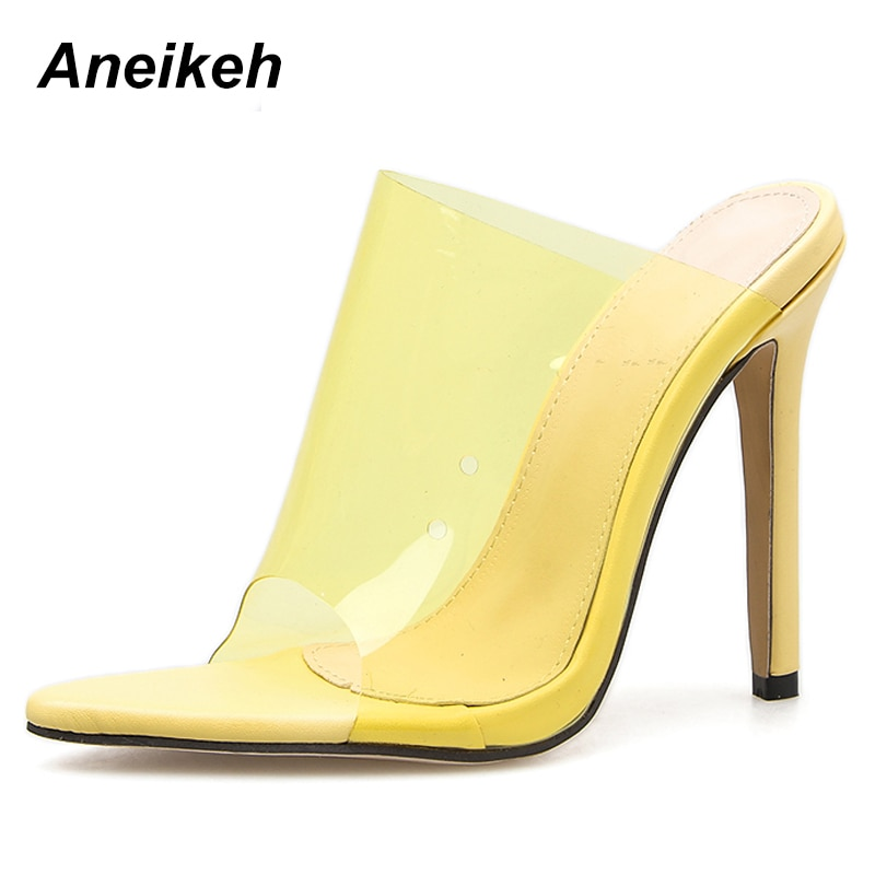 Aneikeh 2019 PVC Jelly Sandals Open Toe High Heels Women Thin Heels Slippers Shoes Heel Clear Sandals Slippers Pumps Purple