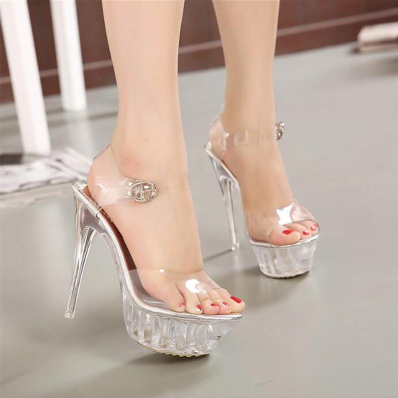 New lady crystal high heels star high waterproof platform transparent sandals Sexy wedding shoes Big size 35-43 9wedding sandals