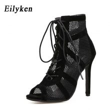 Eilyken 2019 Fashion Black Summer Sandals Lace Up Cross-tied Peep Toe High Heel Ankle Strap Net Surface Hollow Out Sandals