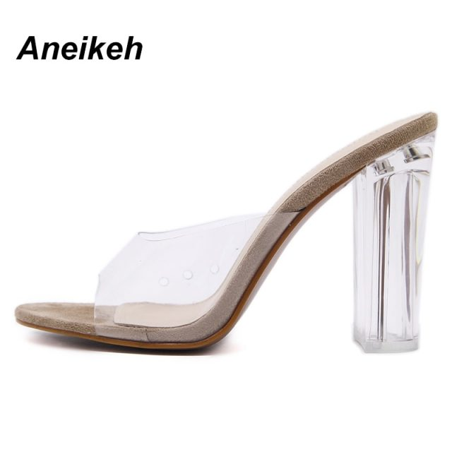 Aneikeh 2019 PVC Jelly Sandals Crystal Leopard Open Toed High Heels Women Transparent Heel Sandals Slippers Pumps Size 41 42
