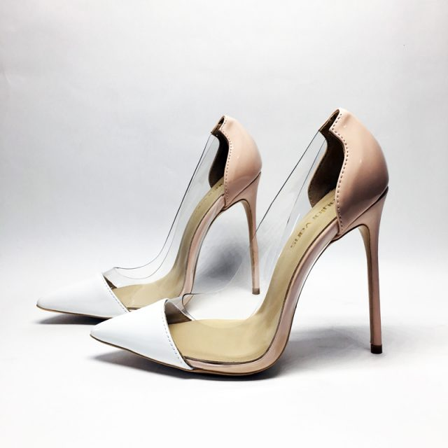 Women Sandals PVC Pointed Toe Clear Transparent High Heel