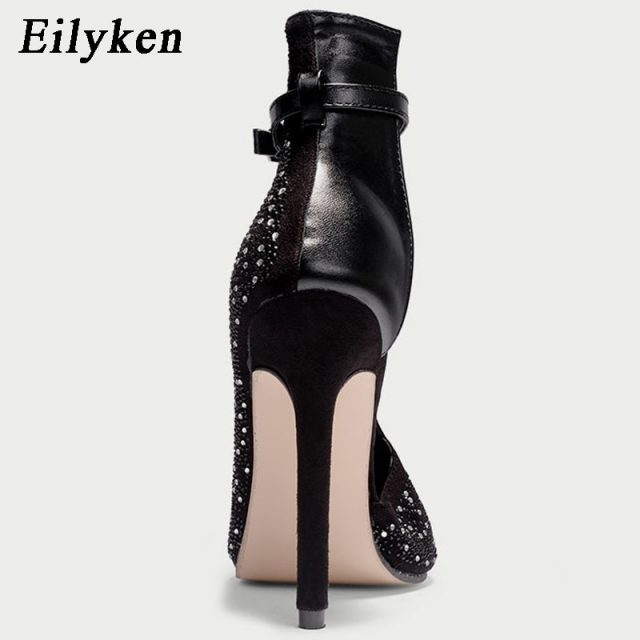 Eilyken New Women Crystal Sandals Ankle Straps High Heels Transparent Cover Heel Pumps Ladies Sandals Party Shoes size 35-43