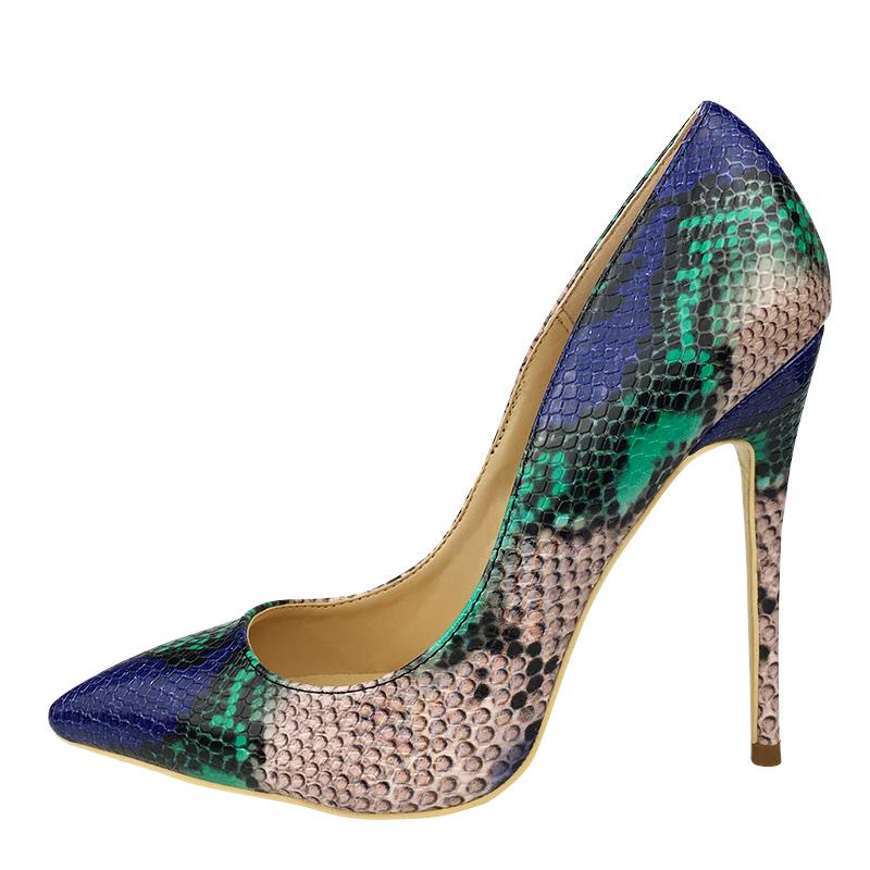 Craylorvans Top Quality Sakura Snake Printing Women High Heels 2018 NEW Fashion Party Wedding Blue Sexy Women Shoes Size 43