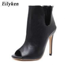 Eilyken Spring/Autumn Gladiator V Mouth Women Pumps Zipper Fashion Black Sexy  Peep Toe Cover Heel Pumps 12CM Size 35-40
