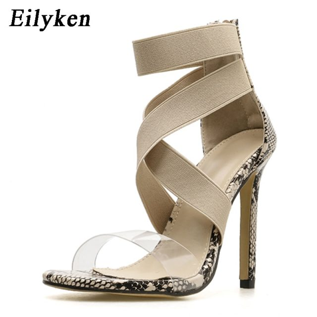 Eilyken Stretch Fabric Women Sandals Gladiator Ankle-Wrap High Heels Shoes Fashion Summer Ladies Party Pumps Shoes Black Apricot