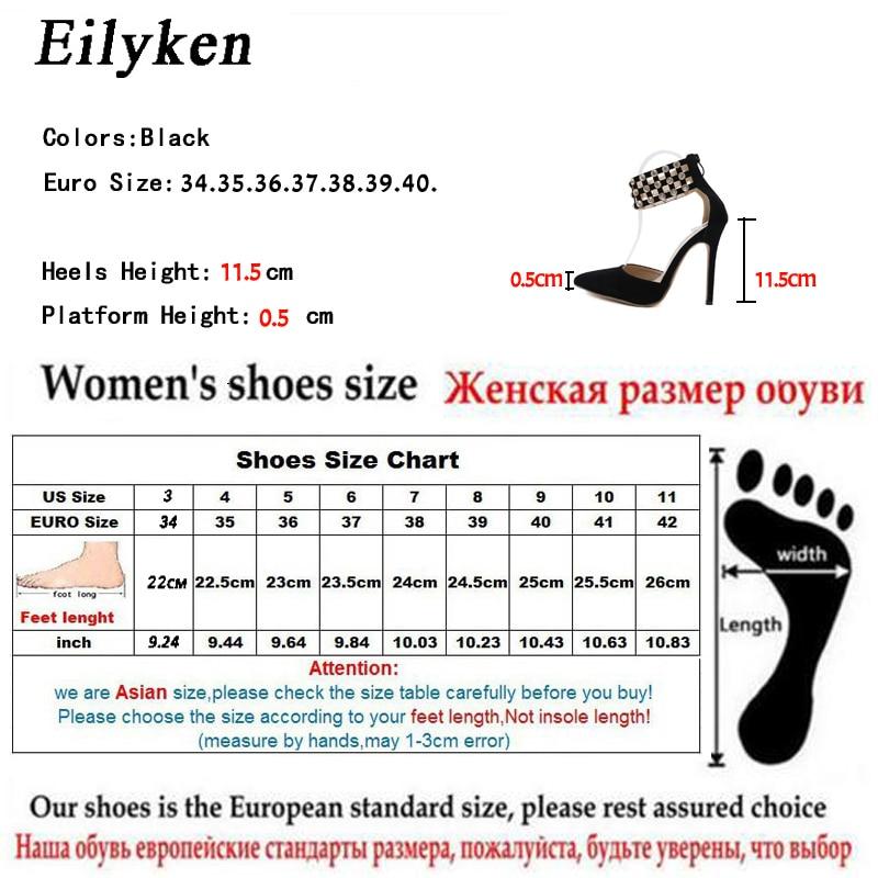 Eilyken Flock Crystal Women Pumps Fashion Zipper Pointed Toe  High Heels Lady Shoes Thin Heels Chaussure Femme Talon