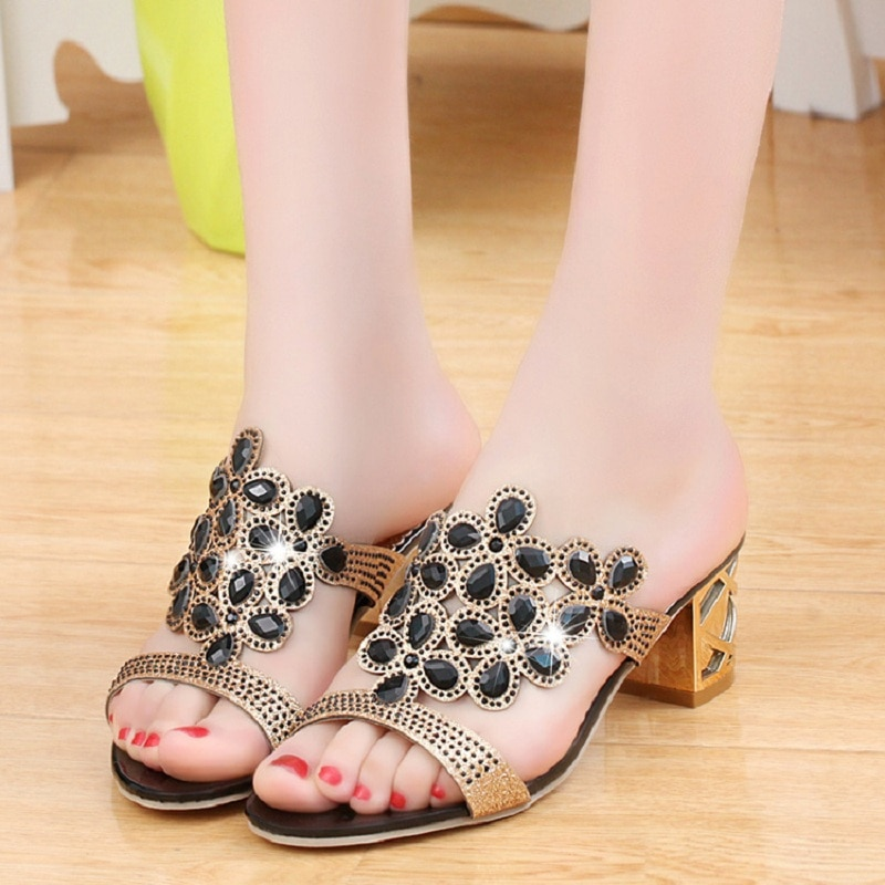 Designer Crystal Sandals Women High Heels Sandals Block Heels Summer Rhinestone Shoes Ladies Casual Slippers Mules Zapatos Mujer