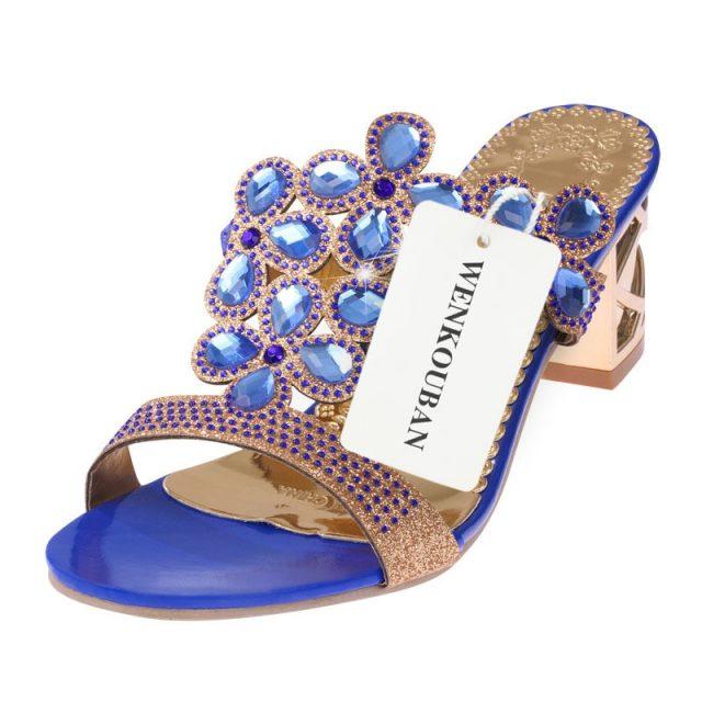 Designer Crystal Sandals Women High Heels Sandals Block Heels Summer Rhinestone Shoes Ladies Casual Slippers Mules Zapatos Mujer