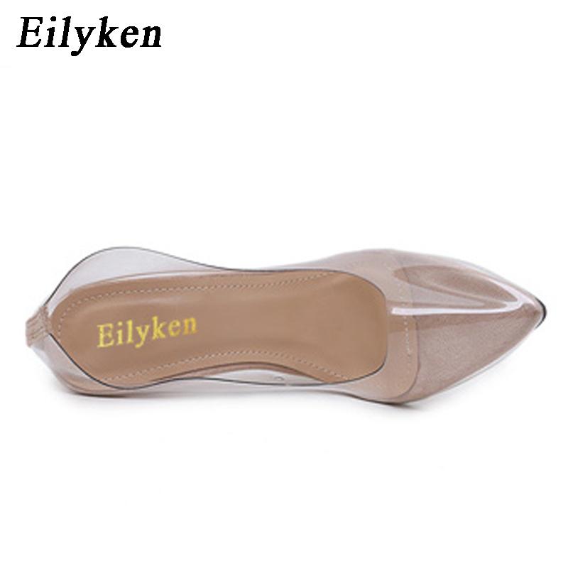 Eilyken Clear Plastic Transparent PVC Pump Club Party Pump Shoes Woman  Color Foot  Wear Designer Shoes Women High Heels 12CM