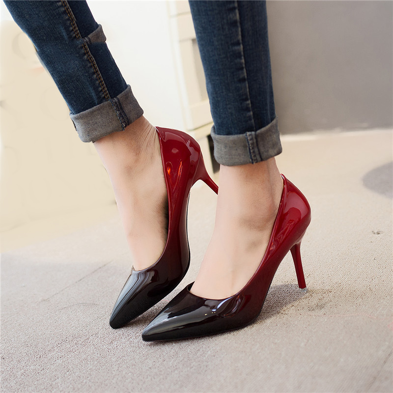 MCCKLE Woman High Heels Spring Autumn Sexy Pumps Female Thin Heel Shoes Gradient Slip On Fashion Party Wedding Shoe For Ladies