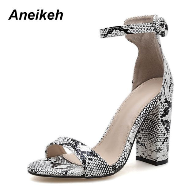 Aneikeh 2019 Sandals Fashion Serpentine Women Sandals High Heels Open toe Ankle Strap Buckle Strap Shoes Size 35-40 Pumps
