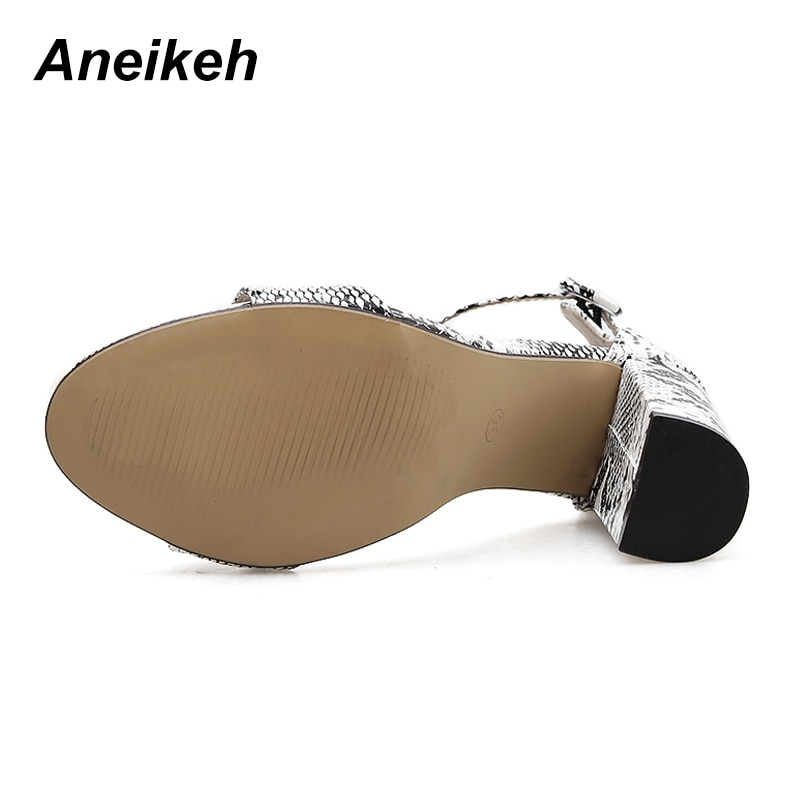 Aneikeh 2019 Sandals Fashion Serpentine Women Sandals High Heels Open toe Ankle Strap Buckle Strap Shoes Size 35-40 Pumps