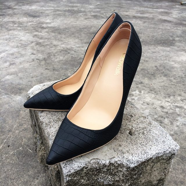 Veowalk Brand Italy Style Women Classic Stiletto High Heels Ladies Sexy Sanke Patern Pointed Toe Pumps Comfort Dress Shoes Black