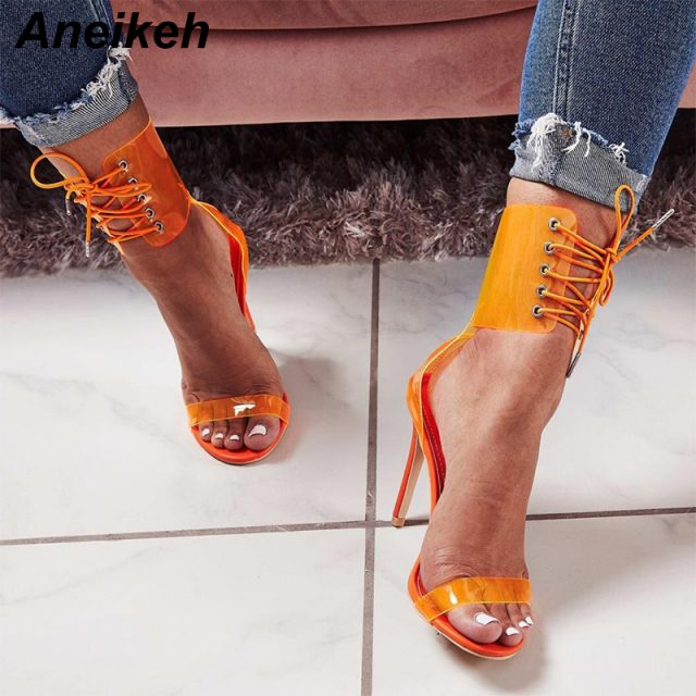 Aneikeh Gladiator Transparent PVC Peep Toe Lace Up High Heel Sandals Sexy Dress Heels for Women Ladies Stiletto Heel Summer Shoe