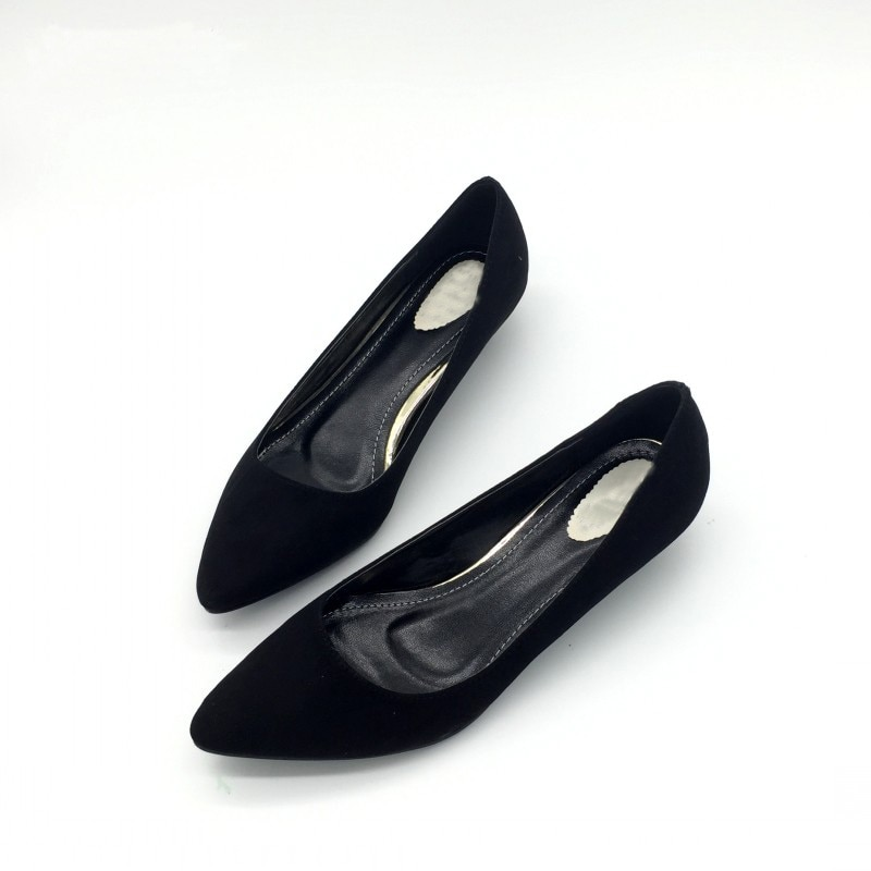 CEYANEAO  Sexy Women Low Heel Pumps Spring Autumn Flock Plain Shallow Slip On Female Pumps Shoes Ladies Casual Single Shoes
