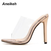 Aneikeh Women PVC Sandals 2019 Fashion champagne High Heeled Women Mules Sexy Thin Heel Shoes Open Toe Sandals Slippers Pumps