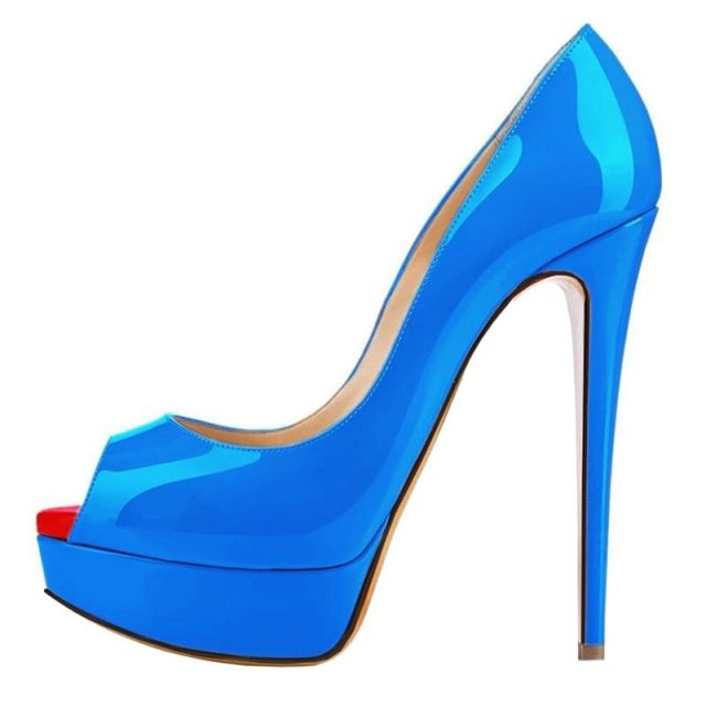 Womens Pumps Patent Leather Wedges Platform Stiletto Red Bottom High Heels Open Toe Sexy Party Shoes Customize Sole Color 817-16