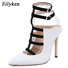 Eilyken Gladiator Women Pumps Fashion Buckle Strap Pointed Toe High Heels Lady White Wedding Shoes Thin Heels Sandal Autumn