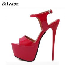 Eilyken Women Sandals Gladiator Party Ankle Strap Patent Leather Concise Ultra Very High heel Fetish Pumps 16cm Sandals