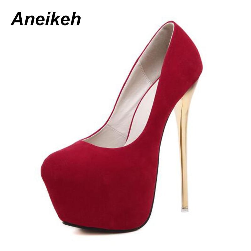 Aneikeh Sexy Pumps Wedding Women Fetish Shoes Concise Woman Pumps Latform Very High Heel Stripper Flock Pumps 16 cm Size 34-40