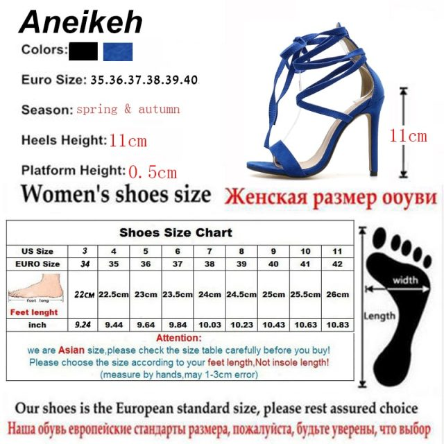 Aneikeh Women Sexy High Heel Sandals Ankle Strap Shoes Summer Ladies Sandals Open Toe Gladiator Shoes Heels Sandals Fetish New