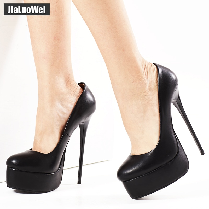 jialuowei Women Platform Pumps Fetish Extreme High Heels 16cm Stiletto Thin Heel Sexy Pumps Snake Print Slip-On Dance Shoes