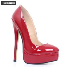 Fetish High Heels Women Classical 18cm Super High Heel Sexy Platform Boots Pointed Toe Pumps Club Party Shoes Plus Size 36-46