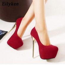 Eilyken Sexy Wedding Women Fetish Shoes Concise  Woman Pumps Latform Very High Heel Stripper Flock Pumps 16 cm