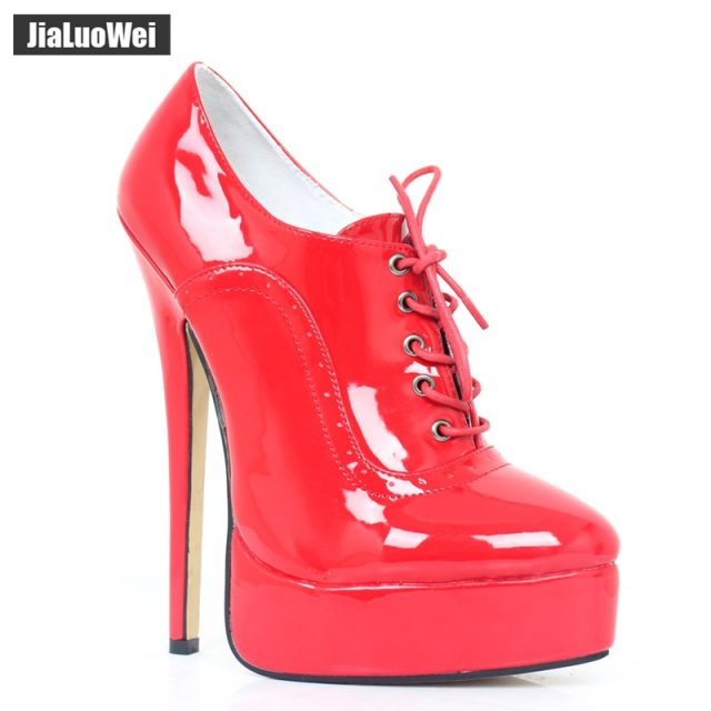 jialuowei 18cm High Heel Sexy Fetish Thin Heel Women Pumps High Top Platform Stiletto Pointed Toe Lace-Up Ladies Shoes Plus size