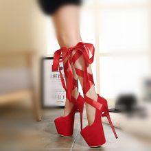 DiJiGirls 20cm platform heels Women Pumps Ankle Strap Red Thick Bottom Womens Fetish High Heels Nightclub Stiletto Bandage Shoes