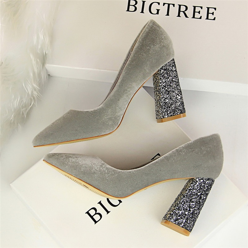 fetish high heels women wedding shoes zapatos mujer tacon italian pumps woman luxury brand bigtree shoes Bling Square heel shoes