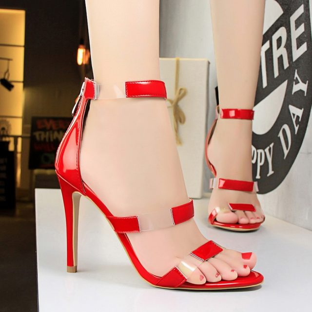 2018 Women Classic 10cm High Heels Fetish Transparent Pink Sandals Female Gladiator Summer PVC Shoes Lady Sexy Green Strap Pumps