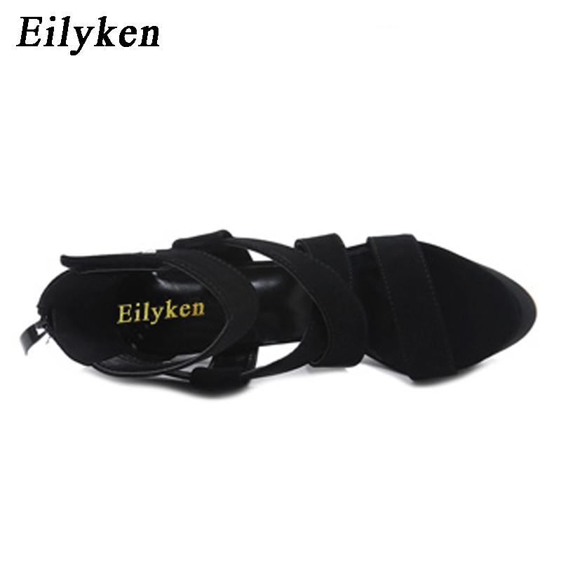 Eilyken 2019 New Summer Women Sandals Gladiator Buckle Strap Ultra Very High heel Fetish Pumps Club Hollow out Women Sandals