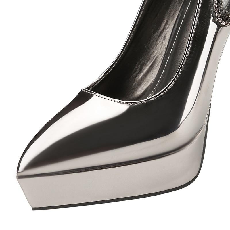 2018 Women Extreme 12cm High Heels Scarpins Gold Silver Pumps Female Fetish Crystal Glitter Heels Lady Wedding Platform Shoes