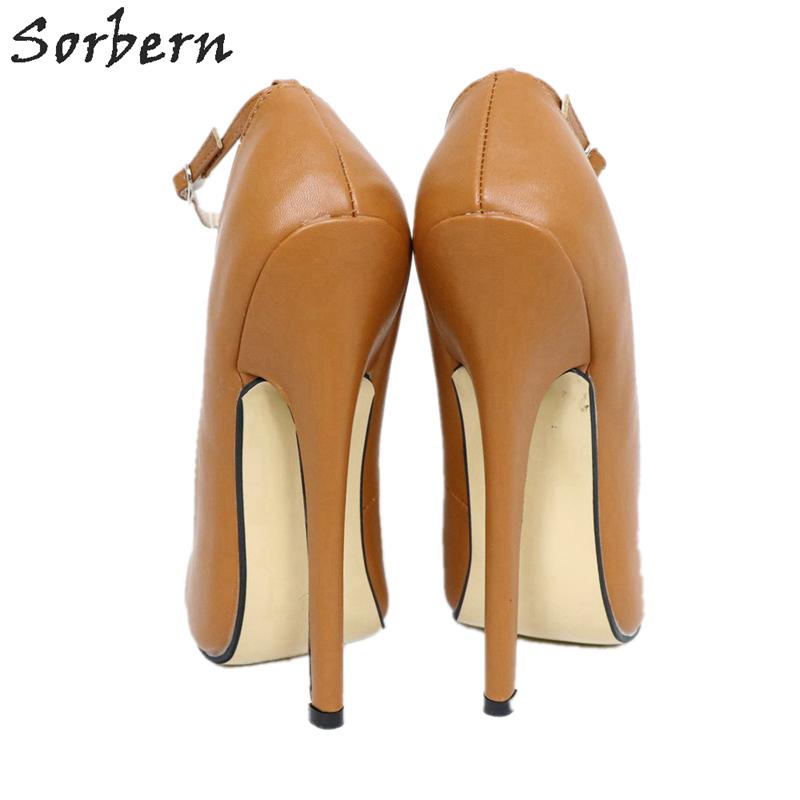 Sorbern Caramel Sharp Toe Women Pump High Heels Shoes Ladies Plus Size 15 Unisex Mary Janes Fetish 18Cm Stiletto Ankle Strap
