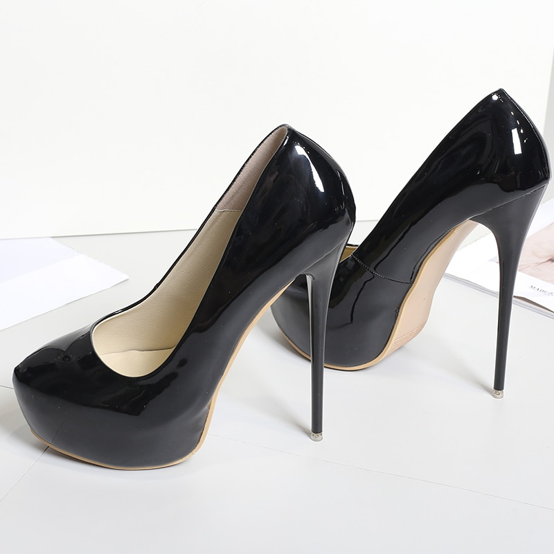 2018 Plus Size 47 Woman 16cm Extreme High Heels Fetish Shoes Female Stiletto Party Platform Pumps Lady Wedding Round Toe Shoes