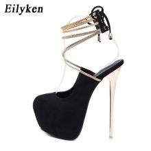 Eilyken Sexy Lace-Up Pumps Wedding Women Fetish Shoes Woman Pumps Latform Very High Heel Stripper Flock Club Pumps 17 cm