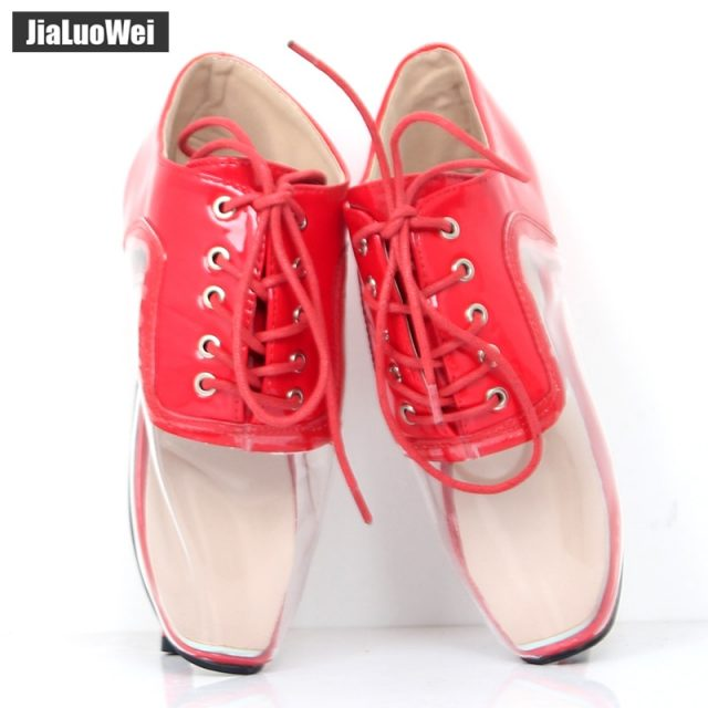 Jialuowei New Women Fashion Clear Transparent High-heeled Shoes 7inch High Heel Ballet Sexy Fetish Lace-up Ankle Pumps Plus Size