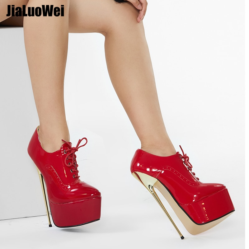 jialuowei Brand New Women Pumps 22CM High Heel Pointed Toe Platform Ladies Sexy Fetish Simple Fine Gold Metal Heel Singles Shoes